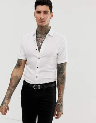 cac7cfc7830a Asos Design DESIGN muscle viscose shirt in white