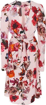 Monique Lhuillier Floral-Print Wrap-Effect Crepe Dress