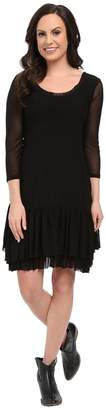 Roper 9922 Solid Stretch Mesh Flounced Dress Women's Dress
