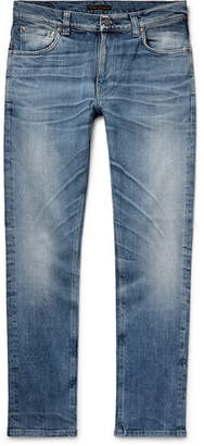Nudie Jeans Lean Dean Slim-Fit Tapered Distressed Organic Stretch-Denim Jeans - Men - Indigo