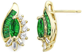 JCPenney FINE JEWELRY Lab-Created Emerald & Lab-Created White Sapphire 14K Gold Over Silver Earrings