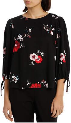 Miss Shop Tie Sleeve Shell Top - Poppy Print