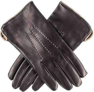 Black Mens and Taupe Leather Gloves - Cashmere Lined