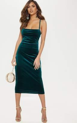 PrettyLittleThing Emerald Green Velvet Lace Up Back Midi Dress