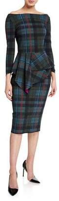 Chiara Boni Plaid Off-the-Shoulder Long-Sleeve Peplum Dress