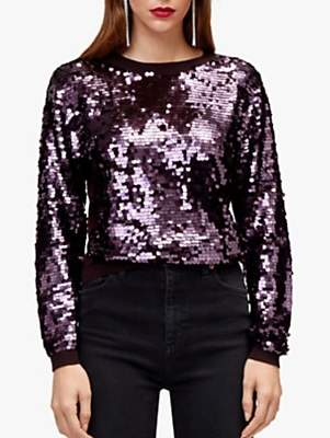 Warehouse Sequin Disc Front Jumper