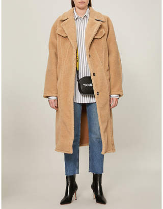 Off-White Textured faux-fur teddy coat