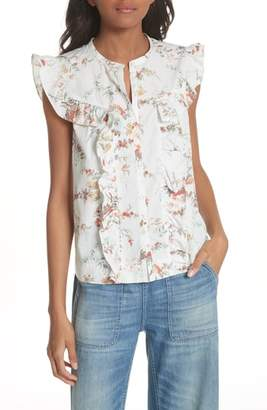 Rebecca Taylor Belle Ruffle Floral Cotton Top