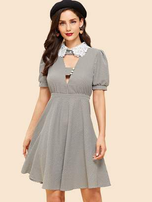 Shein Cut Front with Button Detail Lace Collar Dress