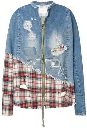 Greg Lauren oversized distressed bomber jacket