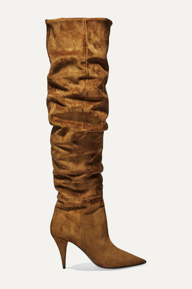 Saint Laurent Kiki Suede Over-the-knee Boots - Tan