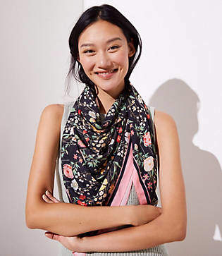 LOFT Bordered Floral Square Scarf