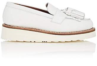 Grenson WOMEN'S CLARA LEATHER WEDGE LOAFERS - WHITE SIZE 6