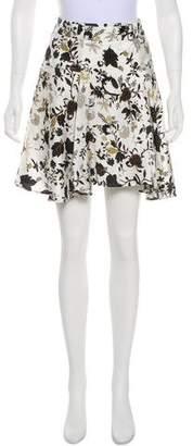 A.L.C. Silk Belted Floral Knee-Length Skirt