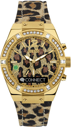 GUESS Women's Connect Animal Print Leather Strap Smart Watch 41mm C0002M6 $249 thestylecure.com
