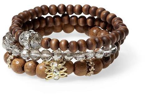 Sabine Three Wood and Bead Stretch Bracelets