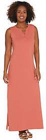 Denim & Co. Essentials Petite Sleeveless HenleyKnit Maxi Dress