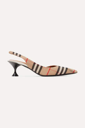 Burberry Checked Cotton-canvas Slingback Pumps - Beige