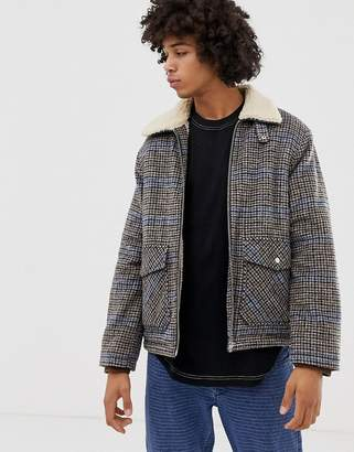 Weekday justus check fleece lined coach jacket