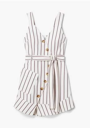 Derek Lam 10 Crosby Belted Asymmetrical Placket Pencil Striped Dress