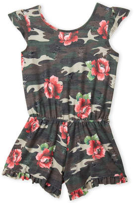 Erge Girls 7-16) Camo Rose Romper