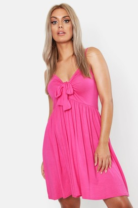 boohoo Plus Strappy Knot Front Swing Dress