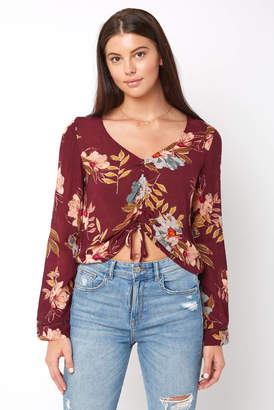 Patrons Of Peace Wine Floral Print Rouched Front Top
