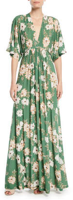 Rachel Pally Willow Crepe Plunge-Neck Maxi Dress