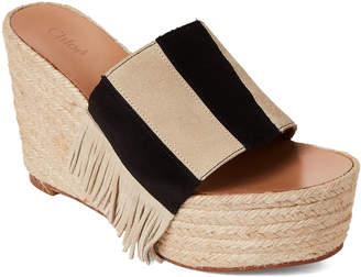 Chloé Black & Grey Platform Side Sandals