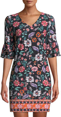 Laundry by Shelli Segal Ruffled Half-Sleeve Floral Sheath Dress