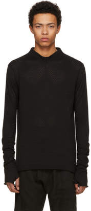 Nude:mm Black Long Sleeve PVA Jacquard Jersey T-Shirt