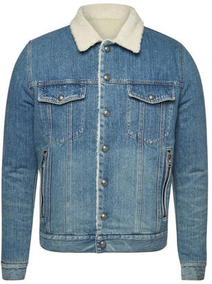 Balmain Denim Jacket with Wool Shearling Collar