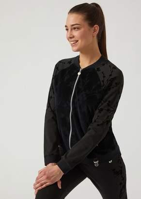 Emporio Armani Ea7 Sweatshirt With Zip And Flocked Floral Print