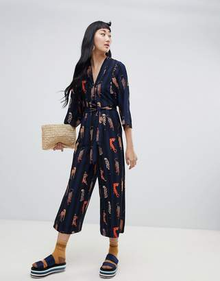 dc6fb447a3 Monki stripe belted jumpsuit with leopard placement in navy
