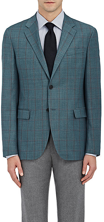 Barneys New YorkBarneys New York BARNEYS NEW YORK MEN'S WINDOWPANE-CHECKED TRAVELLER WOOL TWO-BUTTON SPORTCOAT