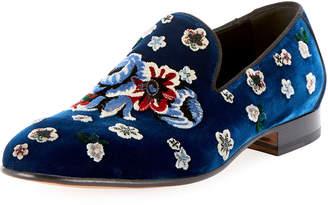 Alexander McQueen Men's Floral-Embroidered Velvet Formal Slippers