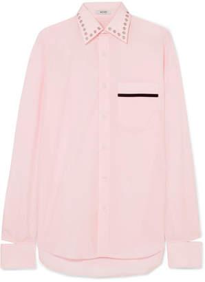 BLOUSE - Bobby Embellished Velvet-trimmed Cotton-poplin Shirt - Pink