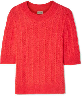 Temperley London Bessie Cable-knit Mohair-blend Sweater - Red