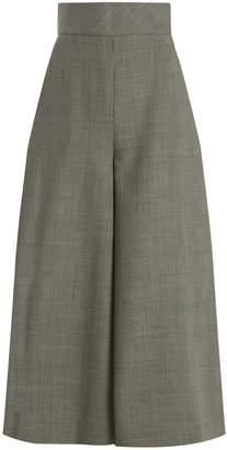 Vika Gazinskaya High-rise wide-leg wool-blend cropped trousers