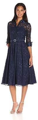 Eliza J Women's Long Sleeve Lace Shirt Dress $188 thestylecure.com