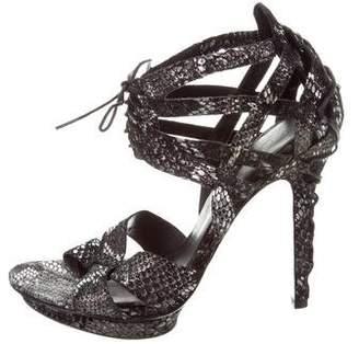Elizabeth and James Embossed Lace-Up Sandals