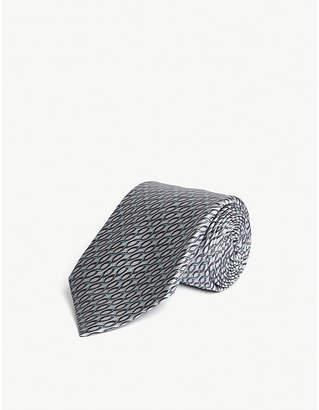 ZILLI Geometric lines silk tie
