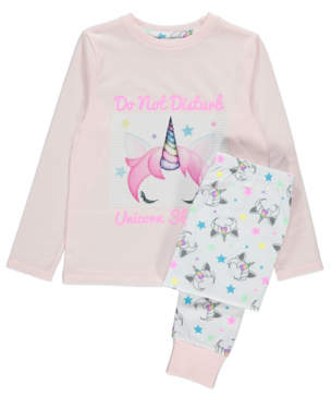 Emoji George Pink Unicorn Slogan Sequin Pyjamas
