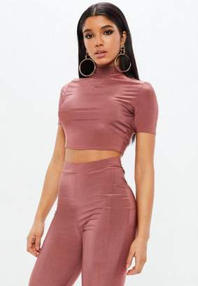 Missguided Pink Slinky Short Sleeve Turtle Neck Crop Top