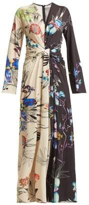 Etro Peggy Two Tone Floral Print Crepe Dress - Womens - Black Multi