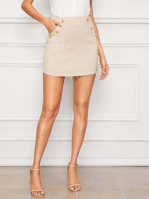 Shein Raw Hem Button Detail Slant Pocket Skirt