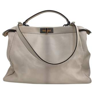 Fendi 100% Authentic Cream Peekaboo Leather Satchel Bag