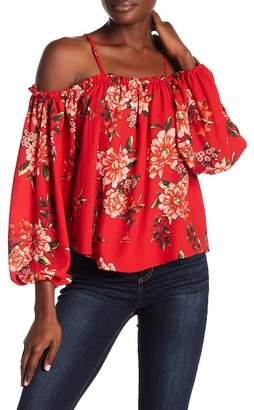 Romeo & Juliet Couture Floral Cold Shoulder Blouse