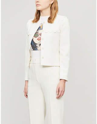 Claudie Pierlot Scalloped-trim woven blazer