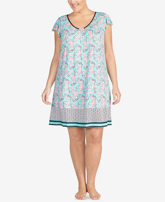 Ellen Tracy Plus Size Printed Ruffle-Sleeve Nightgown